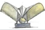 """Lyon-Saint Exupery Airport Railway Station - Satolas - Lyon, France (estudo para escultura """"Bird"""")"""